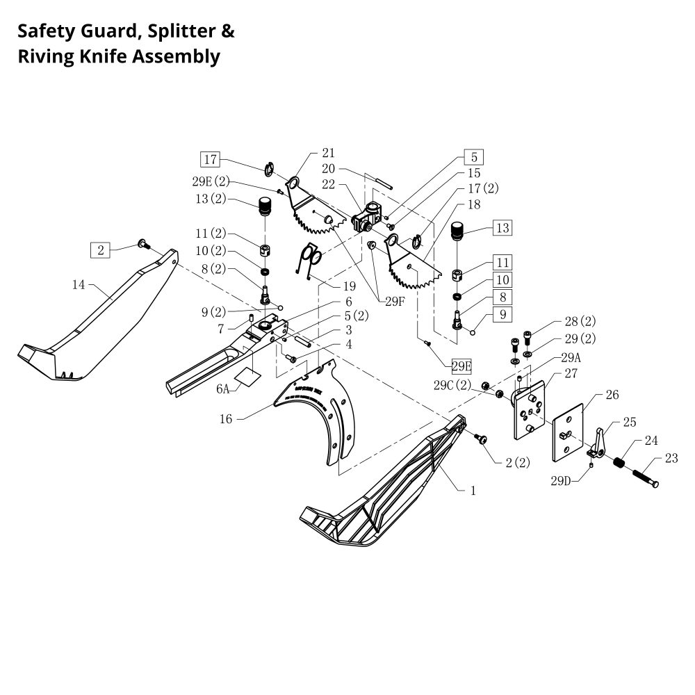 Buy Rikon Model 10 201 Replacement Parts Scroll Saw Diagram Safety Guard Splitter Riving Knife Assembly
